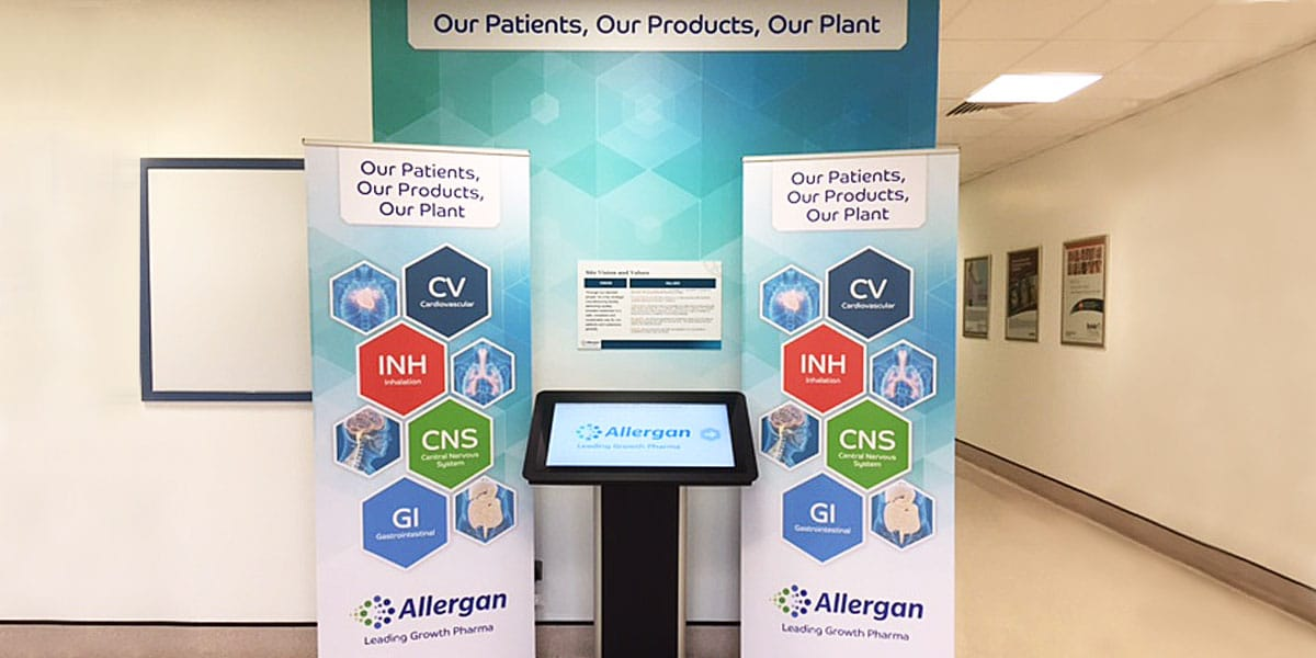 Branded area in Allergan using wall graphics, pop up banners and touch screen console